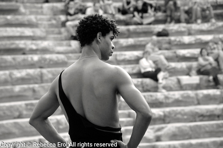 Carlos Acosta in ballet class at the Aspendos amphitheatre in Antalya, Turkey in 2006