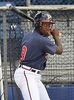 June 18, 2008: Outfielder Miles Kuyaunnis (9) of the Danville Braves, rookie Appalachian League affiliate of the Atlanta Braves, prior to a game against the Burlington Royals at Dan Daniel Memorial Park in Danville, Va. Photo by:  Tom Priddy/Four Seam Images