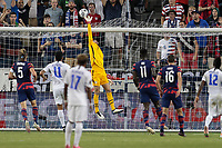 KANSAS CITY, KS - JULY 15: Matt Turner #1 of the United States pushes ball over the cross bar during a game between Martinique and USMNT at Children's Mercy Park on July 15, 2021 in Kansas City, Kansas.