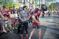 Stefan Küng (SUI/BMC) checking the damage at the finish after having crashed in the prologue (while having ridden the fastest intermediate at that time)<br /> <br /> stage 1: Apeldoorn prologue 9.8km<br /> 99th Giro d'Italia 2016