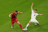 2nd July 2021; Allianz Arena, Munich, Germany; European Football Championships, Euro 2020 quarterfinals, Belgium versus Italy;  Nicolo Barella Italy tackles Jan Vertonghen of Belgium