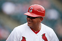 Springfield Cardinals hitting coach Jobel Jimenez (11) during a game against the San Antonio Missions on June 4, 2017 at Hammons Field in Springfield, Missouri.  San Antonio defeated Springfield 6-1.  (Mike Janes/Four Seam Images)