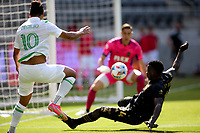LOS ANGELES, CA - APRIL 17: Cecilio Domínguez #10 of Austin FC crossing a ball into the box during a game between Austin FC and Los Angeles FC at Banc of California Stadium on April 17, 2021 in Los Angeles, California.