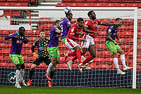 3rd October 2020; City Ground, Nottinghamshire, Midlands, England; English Football League Championship Football, Nottingham Forest versus Bristol City; Antoine Semenyo of Bristol City heads the ball out of defence