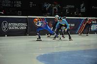 SPEEDSKATING: DORDRECHT: 05-03-2021, ISU World Short Track Speedskating Championships, Heats 500m Men, Semen Elistratov (RSU), Stijn Desmet (BEL), ©photo Martin de Jong