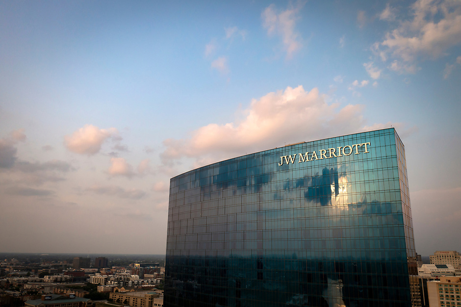 The JW Marriott stands in downtown Indianapolis, Indiana on Saturday, Aug. 7, 2021. (Photo by James Brosher)