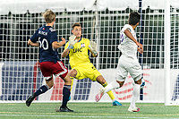 FOXBOROUGH, MA - AUGUST 7: Kenji Tanaka De Paula #66 of Orlando City B scores during a game between Orlando City B and New England Revolution II at Gillette Stadium on August 7, 2020 in Foxborough, Massachusetts.