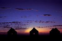 slave huts at sunset, Bonaire Netherland Antilles (Dutch ABC Islands) (Caribbean, Atlantic)