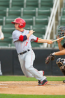 Tony Renda (7) of the Hagerstown Suns follows through on his swing against the Kannapolis Intimidators at CMC-Northeast Stadium on May 16, 2013 in Kannapolis, North Carolina.  The Suns defeated the Intimidators 10-7.   (Brian Westerholt/Four Seam Images)