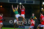 Paudie O'Leary, Kerry in action against Eoghan Nash, Cork during the Munster Minor Semi-Final between Kerry and Cork in Austin Stack Park on Tuesday evening.