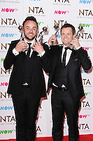 Ant McPartlin and Declan Donnelley<br /> in the winners room at the National TV Awards 2017 held at the O2 Arena, Greenwich, London.<br /> <br /> <br /> ©Ash Knotek  D3221  25/01/2017