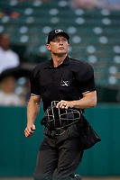 Umpire Travis Godec during an International League game between the Syracuse Mets and Indianapolis Indians on July 17, 2019 at Victory Field in Indianapolis, Indiana.  Syracuse defeated Indianapolis 15-5  (Mike Janes/Four Seam Images)