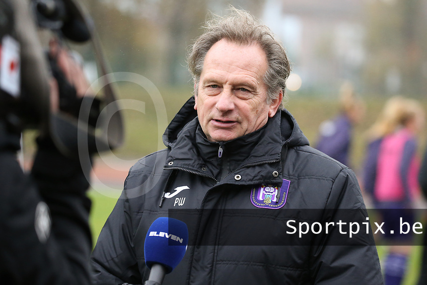 Head Coach Patrick Wachel (Anderlecht) is interviewed before a female soccer game between FC Femina WS Woluwe and RSC Anderlecht Women on the eight match day of the 2020 - 2021 season of Belgian Women's Super League , Sunday 22nd of November 2020  in Woluwe, Belgium . PHOTO SPORTPIX.BE | SPP | SEVIL OKTEM