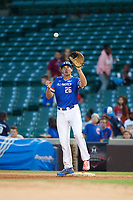 Triston Casas (26) of American Heritage High School in Pembroke Pines, Florida stretches for a throw during the Under Armour All-American Game presented by Baseball Factory on July 29, 2017 at Wrigley Field in Chicago, Illinois.  (Mike Janes/Four Seam Images)