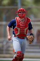 GCL Cardinals catcher Brandon Purcell (4) during a game against the GCL Marlins on August 4, 2018 at Roger Dean Chevrolet Stadium in Jupiter, Florida.  GCL Marlins defeated GCL Cardinals 6-3.  (Mike Janes/Four Seam Images)
