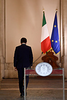 Italian premier Giuseppe Contewearing a face mask during the press conference after the Minister's cabinet about measures to contrast Covid-19 pandemic.<br /> Rome (Italy), October 18th 2020<br /> Photo Pool Paolo/Tre/Insidefoto