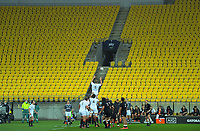 South's Mitchell Dunshea goes up for lineout ball in front of an empty stand during the rugby match between North and South at Sky Stadium in Wellington, New Zealand on Saturday, 5 September 2020. Photo: Dave Lintott / lintottphoto.co.nz