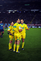 Mathc officials Paul Williams (left), Ben O'Keefe and Mike Fraser (right) confer during the Super Rugby Tran-Tasman final between the Blues and Highlanders at Eden Park in Auckland, New Zealand on Saturday, 19 June 2020. Photo: Dave Lintott / lintottphoto.co.nz