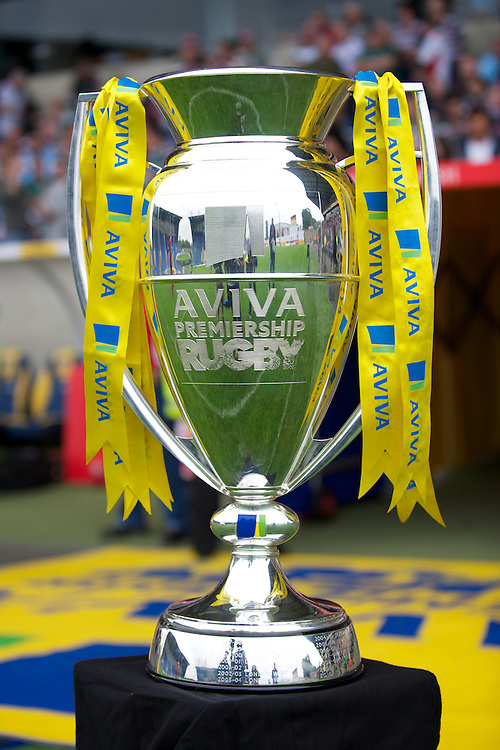 The Aviva Premiership trophy on view before the match between London Welsh and Leicester Tigers at the Kassam Stadium on Sunday 2nd September 2012 (Photo by Rob Munro)