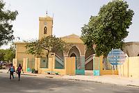 Senegal, Saint Louis.  The Grande Mosque, the principal mosque of Saint Louis, with clock in the minaret.