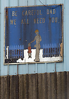 A safety sign hangs Monday, Jan. 9, 2006, on one of the cleaning facility buildings at the Sago mine where 12 miners died in an explosion are shown  near Buckhannon, WV. (Gary Gardiner/EyePush Newsphotos)..<br />