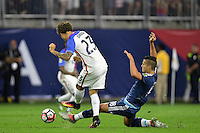 Houston, TX - Tuesday June 21, 2016: Fabian Johnson, Erik Lamela during a Copa America Centenario semifinal match between United States (USA) and Argentina (ARG) at NRG Stadium.
