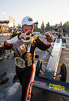 Nov 11, 2018; Pomona, CA, USA; NHRA top fuel driver Steve Torrence celebrates after winning the Auto Club Finals at Auto Club Raceway. Torrence swept all six of the countdown to the championship races to clinch the world championship. Mandatory Credit: Mark J. Rebilas-USA TODAY Sports