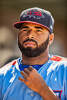 23 June 2019: New Hampshire Fisher Cats starting pitcher Hector Perez in the dugout during a game against the Trenton Thunder at Northeast Delta Dental Stadium in Manchester, NH. The Thunder defeated the Fisher Cats 5-2 in Eastern League play. Mandatory Credit: Ed Wolfstein Photo *** RAW (NEF) Image File Available ***