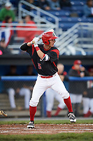 Batavia Muckdogs shortstop Micah Brown (55) at bat during a game against the West Virginia Black Bears on June 26, 2017 at Dwyer Stadium in Batavia, New York.  Batavia defeated West Virginia 1-0 in ten innings.  (Mike Janes/Four Seam Images)