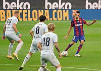 19th December 2020; Camp Nou, Barcelona, Catalonia, Spain; La Liga Football, Barcelona versus Valencia;  Sergio Busquets plays the ball into the Valencia box