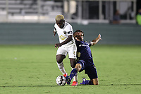 CARY, NC - AUGUST 01: Graham Smith #16 challenges Anderson Asiedu #6 for the ball during a game between Birmingham Legion FC and North Carolina FC at Sahlen's Stadium at WakeMed Soccer Park on August 01, 2020 in Cary, North Carolina.