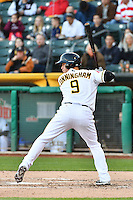 Todd Cunningham (9) of the Salt Lake Bees at bat against the Sacramento River Cats in Pacific Coast League action at Smith's Ballpark on April 7, 2016 in Salt Lake City, Utah.  Salt Lake defeated Sacramento 5-2. (Stephen Smith/Four Seam Images)