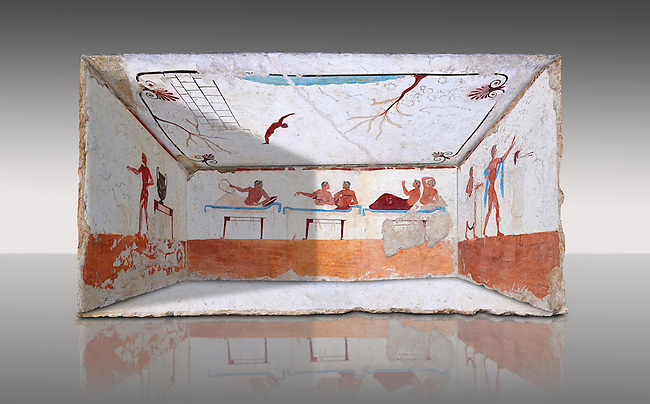 """Reconstruction of  the inside of the Greek Tomb of  the Diver  [La Tomba del Truffatore]. The rear panel is from one of the long sides of the tomb and shows a symposium of men lying on couches facing low tables.  The men on the couches are playing the song of Eros the liar and the flute to distract the deceased from worldly thoughts so he can enter the next world. The fresco on the lid of the tomb and shows a  diving from a column into water. The column represents the border of thye known world and therefore the limit of man's knowledge.  The dive represents the passage form this world to the next. The tomb is painted with the true fresco technique and its importance lies in being """"the only example of Greek painting with figured scenes dating from the Orientalizing, Archaic, or Classical periods to survive in its entirety. Paestrum, Andriuolo.  (480-470 BC  )"""