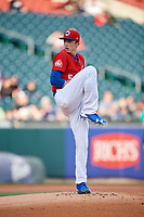 Buffalo Bisons starting pitcher Ryan Borucki (54) delivers a pitch during a game against the Scranton/Wilkes-Barre RailRiders on May 18, 2018 at Coca-Cola Field in Buffalo, New York.  Buffalo defeated Scranton/Wilkes-Barre 5-1.  (Mike Janes/Four Seam Images)
