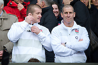 Stuart Lancaster, England Team Manager, (right) and Graham Rowntree, England Forwards Coach, look on during the QBE Autumn International match between England and South Africa at Twickenham on Saturday 24 November 2012 (Photo by Rob Munro)