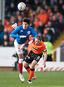 Gers Francisco Sandaza goes over the top United's John Rankin.