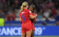 DECINES-CHARPIEU, FRANCE - JULY 02: Lindsey Horan #9, Crystal Dunn #19 celebrate during a 2019 FIFA Women's World Cup France Semi-Final match between England and the United States at Groupama Stadium on July 02, 2019 in Decines-Charpieu, France.