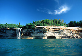 Spray Falls in the Pictured Rocks National Shoreline along Lake Superior in the Upper Peninsula of Michigan.