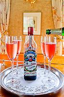 France, Burgundy, Bourgogne, Dijon. European Waterways wine barge cruising. Dijon creme de cassis, Kir royal.
