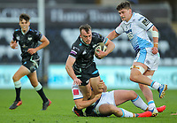 24th April 2021; Liberty Stadium, Swansea, Glamorgan, Wales; Rainbow Cup Rugby, Ospreys versus Cardiff Blues; Cai Evans of Ospreys is tackled by Max Llewellyn of Cardiff Blues