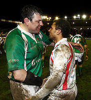 Photo: Richard Lane/Richard Lane Photography. England Legends v Ireland Legends. The Stuart Mangan Memorial Cup. 26/02/2010. Ireland's Reggie Corrigan and England's Jason Robinson.