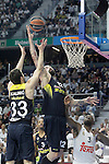 Real Madrid's K.C. Rivers (r) and Fenerbahce Istambul's Nikola Kalinic (l) and Pero Antic during Euroleague Quarter-Finals 3rd match. April 19,2016. (ALTERPHOTOS/Acero)