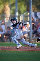 Northeastern Huskies second baseman Scott Holzwasser (28) bats during a game against the South Dakota State Jackrabbits on February 23, 2019 at North Charlotte Regional Park in Port Charlotte, Florida.  Northeastern defeated South Dakota State 12-9.  (Mike Janes/Four Seam Images)