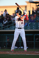 Sam Hillard (25) of the Lancaster JetHawks bats against the Lake Elsinore Storm at The Hanger on June 12, 2017 in Lancaster, California. Lancaster defeated Lake Elsinore, 13-6. (Larry Goren/Four Seam Images)