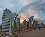 """Chicago, Illinois<br /> Cloud Gate aka """"The Bean"""" reflects the city skyline with the Smurfit-Stone Building, in Millennium Park"""