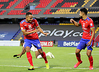 PASTO-COLOMBIA, 28-02-2021: Ray Vanegas de Deportivo Pasto, celebra el gol anotado a America de Cali, durante partido de la fecha 10 entre Deportivo Pasto y America de Cali por la Liga BetPlay DIMAYOR I 2021 jugado en el estadio Departamental Libertad de la ciudad de Pasto. / Ray Vanegas of Deportivo Pasto celebrates the scored goal to America de Cali, during a match of the 10th date between Deportivo Pasto and America de Cali for the BetPlay DIMAYOR I 2021 League played at the Departamental Libertad Stadium in Pasto city. / Photo: VizzorImage / Leonardo Castro / Cont.