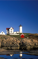 York Harbor, ME, Maine, Nubble Light, Cape Neddick Light at York Harbor on the Atlantic Ocean
