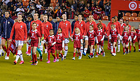HOUSTON, TX - JANUARY 31: The National teams of the United States and Panama walk out during a game between Panama and USWNT at BBVA Stadium on January 31, 2020 in Houston, Texas.