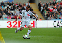 Pictured: Angel Rangel of Swansea. Saturday 17 September 2011<br /> Re: Premiership football Swansea City FC v West Bromwich Albion at the Liberty Stadium, south Wales.