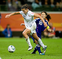 Homare Sawa, Carli Lloyd.  Japan won the FIFA Women's World Cup on penalty kicks after tying the United States, 2-2, in extra time at FIFA Women's World Cup Stadium in Frankfurt Germany.